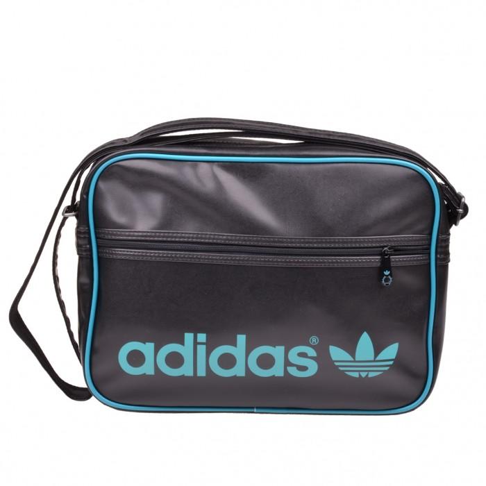 adidas ac airline bag tasche umh ngetasche black labgreen z21066 ebay. Black Bedroom Furniture Sets. Home Design Ideas